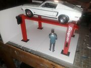 118th Scale Red 4 Post Model Car Lift For Garage Diorama 1/18th Scale