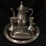 Pewter Set Tea Pot-candle Holders-salt N' Pepper-butter Dish And Serving Tray