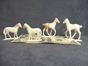 Auburn Young Horses, 4 Vintage Ponies And Colt, Toy Models For Farm Play Sets