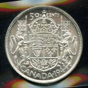 1944 Canada Fifty Cents - Iccs Ms-64 - Near 4 Variety