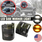 2x Switchback Led Side Mirror Marker Lights Smoked For 08-16 Ford F250 F350 F450