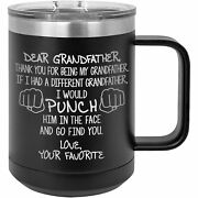 Grandfather Mug Tumbler Travel Coffee Cup Funny Gifts For Birthday Present O-55a