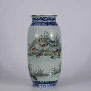 14.6 Old Qianlong Marked Blue And White Porcelain Hand Painting Wild Goose Vase