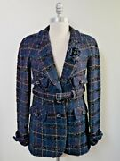Navy Blue With Colors Fantasy Tweed Belted Jacket Blazer Euro Size 38
