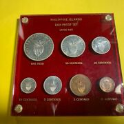 Us Philippines 1904 7-coin Proof Set Half Centavo To Peso In Plastic Holder