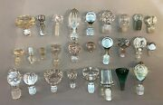 Lot Of 27 Assorted Antique Vintage Mostly Clear Crystal Glass Decanter Stoppers