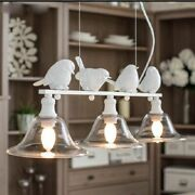 Chandeliers Birds Led Lights Clear Glass Body Art Deco Style Home Lamps Fixtures