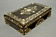 Antique 19th C. Ornate Wood Gaming Set - Hinged Box W Playing Card Suit Tokens
