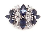 18k White Gold 2.50ct Marquise Cut Sapphire Diamond Dome Flower Band Ring Size 5