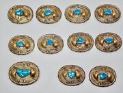 N Nalley Navajo Vintage Silver Gold Filled And Turquoise Belt Buckle And 10 Conchos