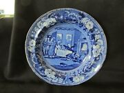S38 Antique Stafordshire Pottery Transfer Ware Blue Soup Plate Clews Dr Syntax
