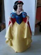 Vintage Large Snow White Hard Plastic Coin Bank 7 1/2 Tall 1980s Stopper