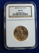 🔥2008 25 Dollar American 1/2 Oz Gold Eagle Coin Ngc Ms-70 Gem