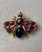 18k Solid Yellow Gold Natural Blue Sapphire Ruby Insect Bee Pendant Brooch