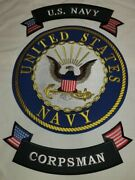Us Navy Corpsman 10 Center Back Patch With Upper / Lower Rockers 3 Piece Set