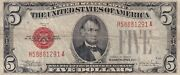 1928e Fine Condition 58881291a Red Seal Five Dollar Legal Tender