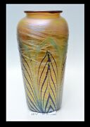 Gold Luster Vase With Green And Red Pulled Feather Design. Saul Alcaraz