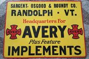 Bf Avery And Sons Tractor Implement Dealer Sign Sargent Osgood Roundy Randolph, Vt