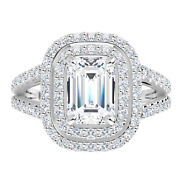 2.75ct Moissanite Emerald Forever One Double Halo Pave Solitaire Engagement Ring