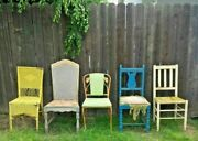 Vintage Mismatched Chair Lot Wood Metal Wicker Cane Green Blue Yellow Wear