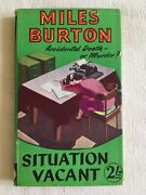 Situation Vacant By Miles Burton / John Rhode Hb Collins Crime Club Dust Jacket