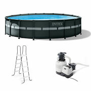 Intex 18' X 52 Ultra Xtr Frame Round Above Ground Pool Set With Pump Used