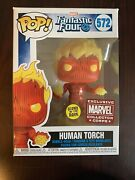 Funko Pop Human Torch Fantastic Four 572 Marvel Collector Corps Exclusive Gitd