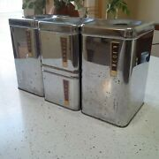 Vintage 1950and039s Lincoln Beautyware Kitchen Canister Set Coffee Tea Flour Wear