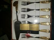 Cake Silverware Set By Inoxpran 24k Gold Brand New Never Used Made In Italy