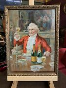 Early 1900's Gold Seal Sparkling Wine Tin Litho Framed  Watch Video