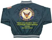Uss Dwight D.eisenhower Cvn-69 Carrier Deluxe Embroidered 2-sided Satin Jacket