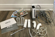 Nintendo Wii Game Console Bundle W/3 Games Controllers Nunchucks Preowned