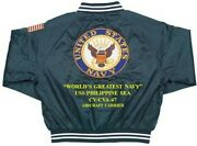 Uss Philippine Sea Cv/cva-47 Carrier Usn Deluxe Embroidered 2-sided Satin Jacket
