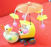 O.k.d Tinplate Wind-up Toy Duck Carriage Wite Carrousel W/box Made In Japan 1970