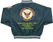 Uss Coral Sea Cv/cva-43 Carrier Navy Deluxe Embroidered 2-sided Satin Jacket
