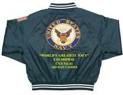 Uss Midway Cv/cva-41 Carrier Navy Deluxe Embroidered 2-sided Satin Jacket