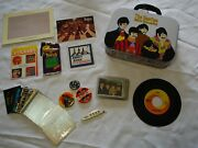 Lot Of Beatles Memorabilia Yellow Submarine Lunch Box, Collector's Cards, Pins