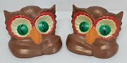 Owl Pair Book Ends Avner's Owlet Bird Collectible Brown Green Eyes Beak Feathers