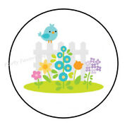 30 Picket Fence Spring Envelope Seals Labels Stickers Party Favors 1.5 Round