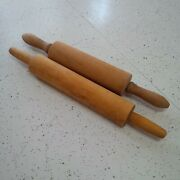 Antique Vintage Wood Wooden Rolling Pin Lot Of 2 Wear