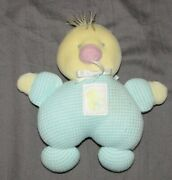 Vintage Eden Baby Thermal Duck Rattle Stuffed Plush Toy Yellow Aqua Blue Patch