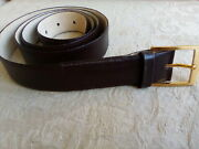 Canterbury Brown Glove Leather Belt Solid Brass Buckle Sz 44 1.25 Wide Classic