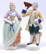 Pair Of Antique Victorian Couple Gentleman And Lady Figurines Trademarked 7.5h