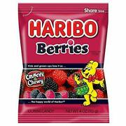 Haribo Berries Lot Of 2 Red Black Gummy Candy Crunchy/chewy- New 02/2021 Exp