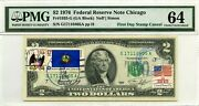 2 Dollars 1976 First Day Stamp Cancel Vermont Lucky Money Value 3000