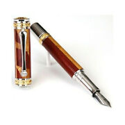 Majestic Fountain Pen, Yellow Heart W/ Bloodwood And Maple Inlays, 22kt Gold Hand-