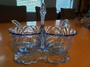 Cambridge Caprice Glass Moonlight Blue Divided Salad Dressing Bowl With Spoons