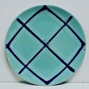 Large Vintage Plate By Pacific Pottery Turquoise Plaid