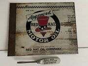 Vintage Original Red Hat Motor Oil Can Tin Fort Worth Texas And Screwdriver