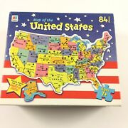 Milton Bradley Map Of The United States Puzzle Used Missing 1 Piece